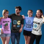 4 friends science t-shirts